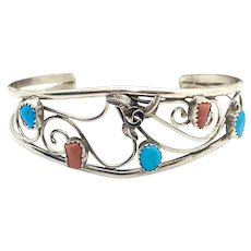 Jerry Cowboy Signed Navajo Sterling Silver Turquoise Coral Cuff Bracelet