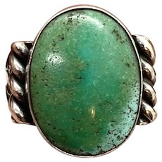 Vintage Fred Harvey Era Southwestern Sterling Silver Natural Green Turquoise Ring
