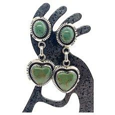 W Johnson Navajo Sterling Silver Kings Manassa Green Turquoise Heart Dangle Earrings