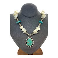 Vintage Navajo Pearl Sterling Silver Green Turquoise Coral Beaded Choker Necklace