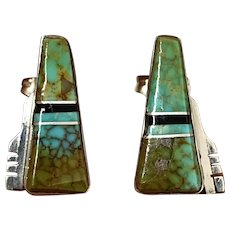 Signed Navajo Sterling Silver Natural Royston Turquoise Inlay Stud Earrings