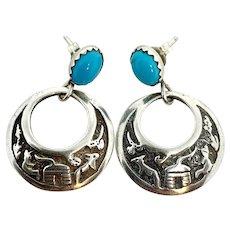 Navajo Sterling Silver Turquoise Storyteller Dangle Earrings