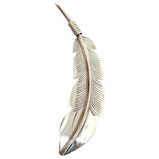 Navajo Southwestern Large Sterling Silver Feather Pin Brooch