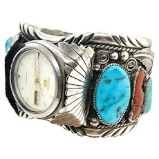 Mike Thomas Signed Navajo Sterling Silver Turquoise Coral Automatic Watch Cuff