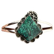 Signed Navajo Sterling Silver Green Spiderweb Turquoise Cuff Bracelet