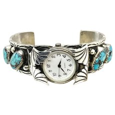 Glen Adakai Signed Navajo Heavy Sterling Silver Turquoise Watch Cuff