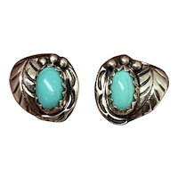Signed Navajo Sterling Silver Blue Turquoise Squash Blossom Stud Earrings
