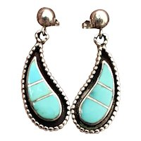 Signed Vintage Zuni Sterling Silver Turquoise Inlay Dangle Earrings