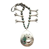 Signed SB Navajo Pearl Sterling Silver Turquoise Coral Roadrunner Squash Blossom Necklace