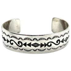 Della Francis James Signed Navajo Stamped Sterling Silver Cuff Bracelet
