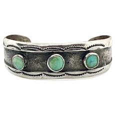 Signed Navajo Handmade Sterling Silver Turquoise Cuff Bracelet
