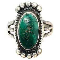 Fred Harvey Era Southwestern Sterling Silver Green Damele Turquoise Ring