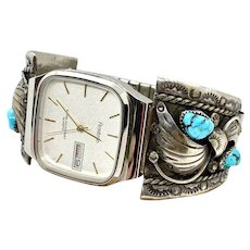 Vintage Navajo Men's Sterling Silver Turquoise Watch Tips Watch Band