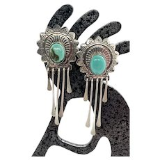 QT Quoc Trading Southwestern Sterling Silver Turquoise Dangle Earrings