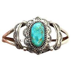 Vintage Navajo Stamped Sterling Silver Natural Turquoise Cuff Bracelet