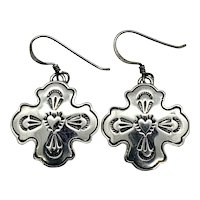 El Tom Signed Navajo Stamped Sterling Silver Heart Concho Dangle Earrings