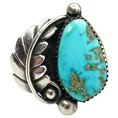 Signed D Navajo Large Sterling Silver Natural Blue Turquoise Ring