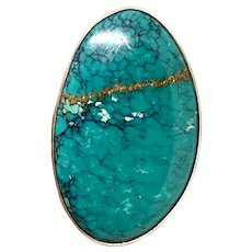 Etta Endito Signed Navajo Sterling Silver Blue Spiderweb Turquoise Adjustable Ring
