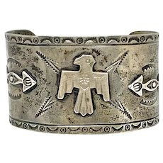 Early Fred Harvey Era Southwestern Sterling Silver Thunderbird Cuff Bracelet