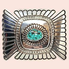 Larson Blackgoat Signed Navajo Sterling Silver Turquoise Belt Buckle