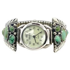 TF Signed Navajo Sterling Silver Green Turquoise Women's Watch Tips Band