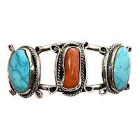 Vintage Navajo Women's Sterling Silver Coral Turquoise Cuff Bracelet