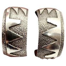 Vintage Navajo Southwestern Sterling Silver Hoop Earrings