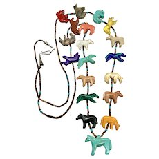 Vintage Zuni Sterling Multi Stone Horse Fetish Heishi Beaded Necklace