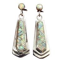 Signed Navajo Southwestern Sterling Silver Opal Inlay Dangle Earrings