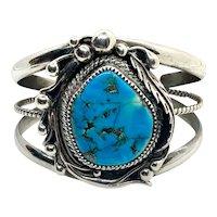 Vintage Navajo Heavy Sterling Silver Blue Turquoise Cuff Bracelet