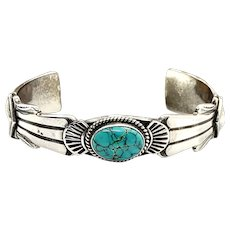 Rose Chee Signed Navajo Sterling Silver Natural Turquoise Cuff Bracelet