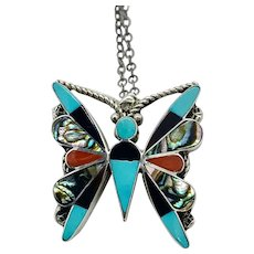 Vintage Zuni Sterling Silver Multi Stone Inlay Butterfly Pendant Pin Necklace