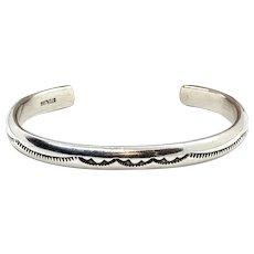 Vintage Navajo Stamped Heavy Sterling Silver Cuff Bracelet