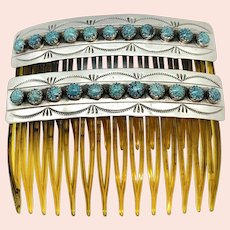 Vintage Navajo Sterling Silver Spiderweb Turquoise Hair Comb Set