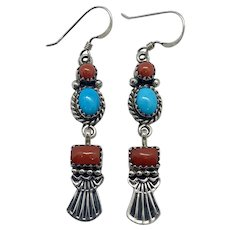 Michael Rosita Calladitto Signed Navajo Sterling Silver Turquoise Coral Dangle Earrings