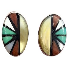Vintage Zuni Sterling Silver Turquoise Multi Stone Inlay Stud Earrings