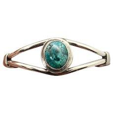 Vintage Navajo Sterling Silver High Grade Blue Spiderweb Turquoise Cuff Bracelet