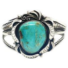 Vintage Navajo Sterling Silver Natural Blue Turquoise Cuff Bracelet
