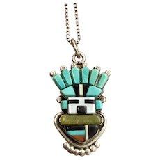 L Cachini Signed Zuni Sterling Silver Multi Stone Inlay Kachina Pendant Necklace