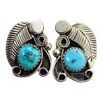 Vintage Navajo Sterling Silver Blue Turquoise Squash Blossom Stud Earrings