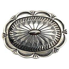 Vintage Navajo Southwestern Sterling Silver Concho Pin Brooch