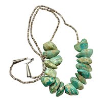 Vintage Navajo Sterling Natural Green Turquoise Nugget Heishi Beaded Necklace