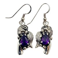 Les Baker Signed Navajo Sterling Silver Amethyst Squash Blossom Dangle Earrings