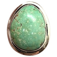Southwestern Style Sterling Silver Natural Mint Green Turquoise Adjustable Ring
