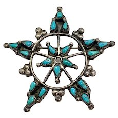 Vintage Zuni Sterling Silver Genuine Turquoise Petit Point Pin Brooch