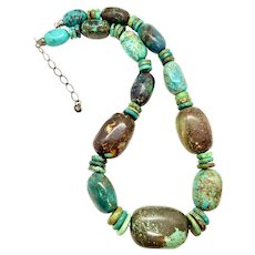 Huge Jay King Southwestern Sterling Silver Turquoise Beaded Necklace