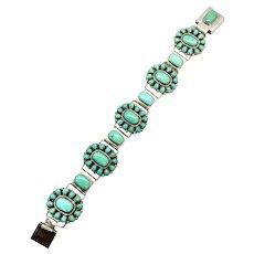 Vintage Jane Paselente Signed Zuni Sterling Silver Turquoise Cluster Bracelet