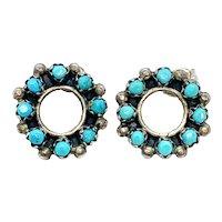 Vintage Zuni Sterling Silver Turquoise Snake Eye Petit Point Stud Earrings