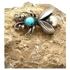 Maisels Trading Southwestern Sterling Silver Turquoise Insect Beetle Bug Pin