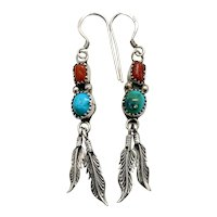Robert Becenti Signed Navajo Sterling Silver Turquoise Coral Dangle Earrings